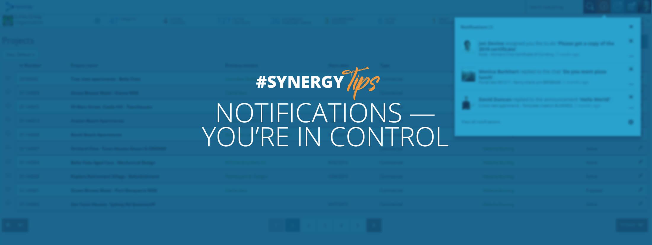 Learn how to manage email notifications in Synergy.